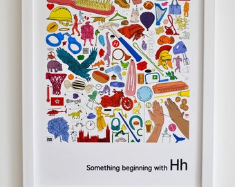 Personalised nursery wall art, Alphabet print, 'Something beginning with H' design