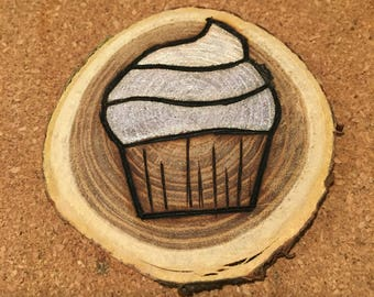 Wood Burned Cupcake Magnet