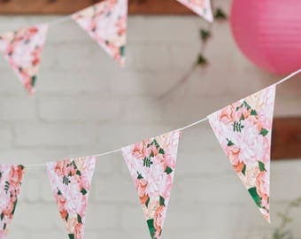 Boho Floral Paper Bunting, Wedding Bunting, Wedding Garland, Floral Wedding Decor, Party Floral Flag Bunting, Baby Shower Bunting