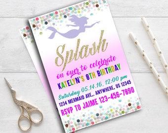 Mermaid Invitation,Mermaid Invitations,Mermaid Ideas,Mermaid Card,Mermaid Party supplies,Mermaid party,Mermaid invite,Mermaid Birthday