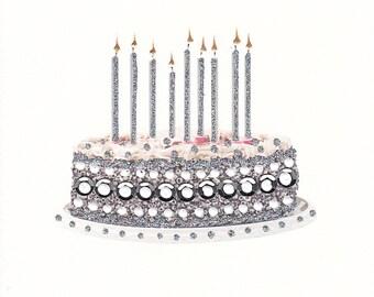 Twinkling Silver Birthday Cake