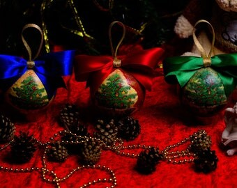 "Set of 3 Christmas balls ""Merry Christmas"" for a Christmas tree, Christmas Ornaments, Hanging Decor, New Year balls, vintage, shabby"