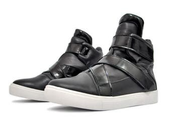 Asymmetrical high-top sneakers