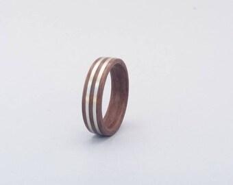 Bendwood black walnut ring w/ 1mm width double sterling silverlines