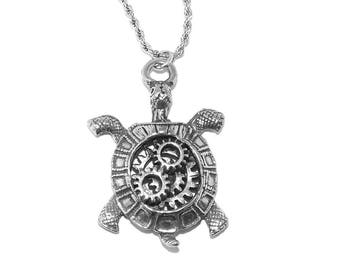 Steampunk Turtle Tortoise, Cogs and Gears Pewter Pendant Necklace with Chain