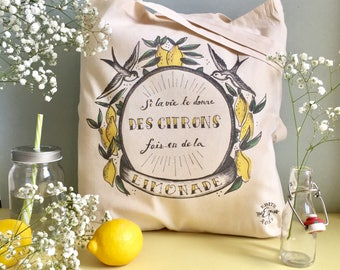 Organic cotton bag Tote / organic cotton bag design / lemon