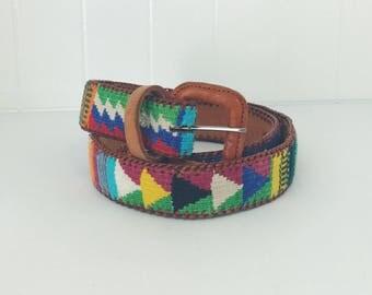 Colorful woven Guatemalan leather belt // women's size XS S // brown leather belt // ethnic woven belt // boho belt // festival wear