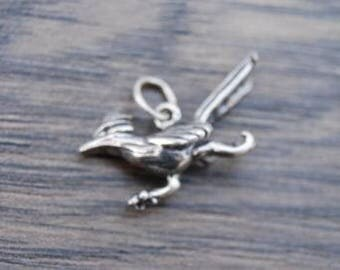 Sterling Silver Small Roadrunner Charm Pendant DB1G
