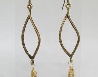 Handmade Oxidised Leaf Shape Drop Earrings with Briolette Drops