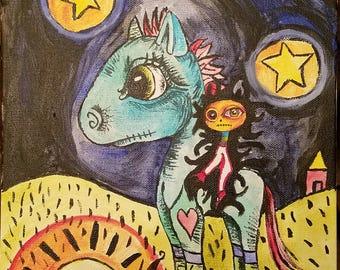 Gothic horse, rocking horse painting, little riding creature, gothic artwork, acrylic painting