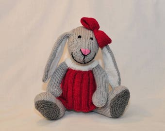 Rosie Rabbit. A cute bunny in a beautiful dress, hand knitted toy rabbit, a plush softie bunny, animal, pet