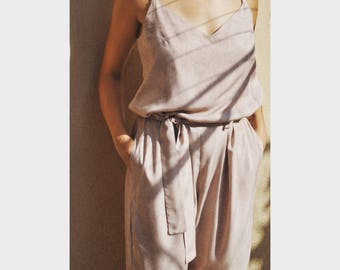 casual, night, woman overall,Loose viscose,pink pudra, Handmade item - One Size