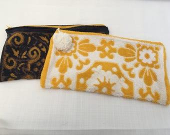 Vintage towel makeup and sunscreen bag