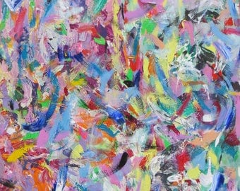 "Original acrylic on canvas, 40""x32"" wall art, Multicolored abstract, Varicolored & harmonic modern painting"