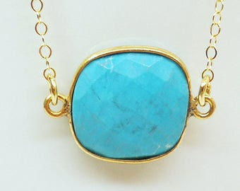 Turquoise Pendant with Delicate 14K Gold Filled Chain Necklace