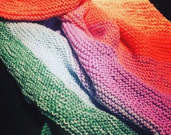 Handknitted Multicoloured Baby Blanket