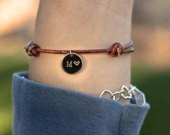 Hand Stamped Leather Bracelet - Custom Letter & Heart - Adjustable