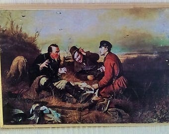 painting on wood-Hunting - painting of a Russian artist, nice gift picture ,  print, transfer on wood