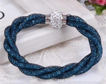 Mesh Triple Stardust Bracelets With Crystal stones Filled Magnetic Clasp Bangles 3 Colors