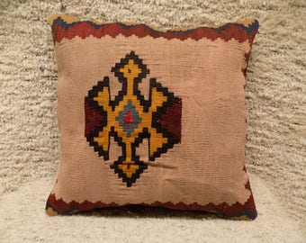 17x17 kilim pillow cover,turkish cushion,decorative pillow,vintage pillow,throw pillow,wool pillow,bohemian cushion,kilim cushion,