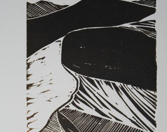 WOODCUT-DUNE (from a photograph by Ansel Adams)