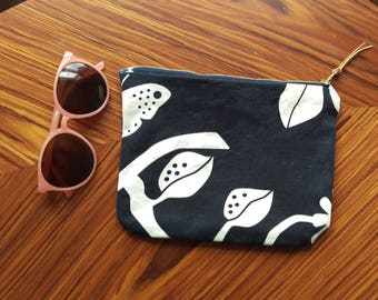 Denim Canvas 2-sided Zippered Pouch
