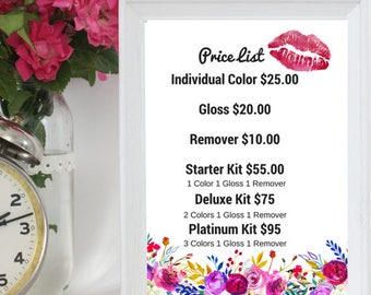 Floral PRINTABLE LipSense Price list 8 by 10
