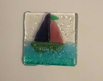 Framed fused glass nautical boat plaque