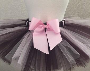 Elegant Brown/ Light Pink Tutu W/ Sash Bow, Tutu, Baby Girl Tutu, Toddler Tutu, 1st Birthday Tutu, Birthday Tutu, Brown And Light Pink Tutu