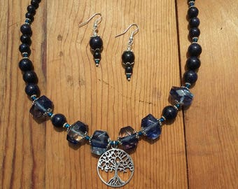 Navy Blue Necklace and Earrings