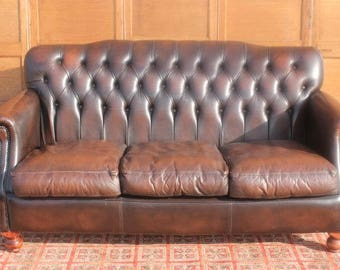 Hand Dyed Country House Vintage/Antique Style Cigar Brown Leather Chesterfield Sofa,Club Style,Studded/Stud Button Back