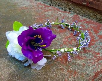 Purple & White Flower Crown