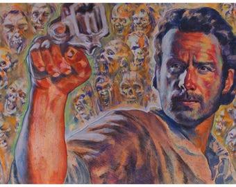 walking dead Rick Grimes ORIGINAL ACRYLIC illustration