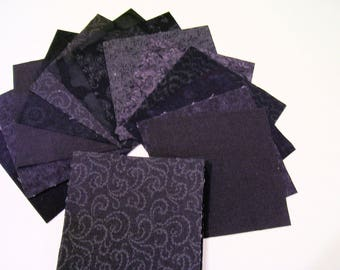 2.5 Inch CHARM PACK, Black Quilting Cotton