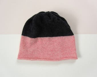 Woolly Beanie Hat Pink+Charcoal