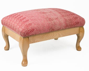 rose footstool upholstered with hair not foam, in silk and linen, hand polished beech, beautiful gift!