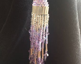 Native American inspired earrings Light Purple and silver seed beads and crystals