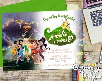 Disney Fairies Birthday Invitation, Tinkerbell Birthday Invitation, Fairy Birthday Invitation
