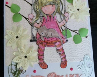 Gorjuss Girl large A4 Good Luck card.
