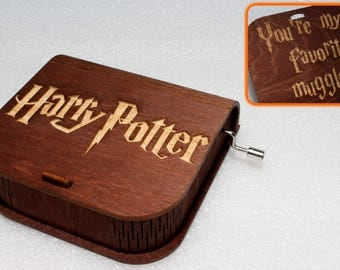 "Harry Potter - Engraved Wooden Music Box - ""Harry's Wondrous World"" - You're My Favorite Muggle - Hand Crank Movement"
