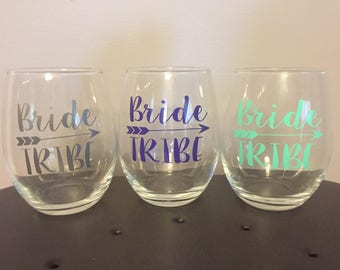7, 8, or 9 Bride Tribe Wine Glasses | Personalized Bridesmaid Wine Glasses | Bachelorette Party Wine Glass