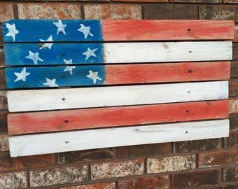 Handmade wood American Flag