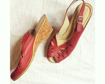 Classic Vintage Red Leather Summer Sandals / Pumps with Cork Wedge Heel / Size 5