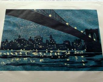 Richard Bosman BROOKLYN BRIDGE signed/#d woodcut 1996