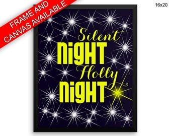 Silent Night Holly Night Prints  Silent Night Holly Night Canvas Wall Art Silent Night Holly Night Framed Print Silent Night Holly Night