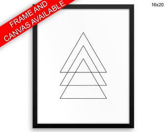 Geometry Printed  Poster Triangle Framed Geometry  Canvas Triangle triangle print triangle shape large print black white triangle