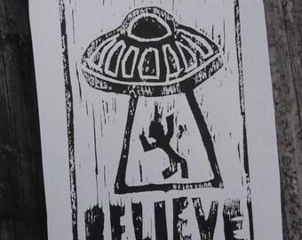 I Want to Believe Woodcut Print