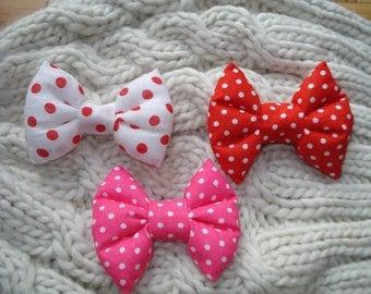 Puffy Polka Dot Hair Bow, Hair Bow Tie, Hair Bow for kids, Hair Bow for Toddler, Hair Bow for Girls, Ponytail Holder