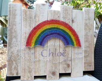 Rainbow String Art, Nursery, Personalised, Baby Shower.  Cotton gift bag included.