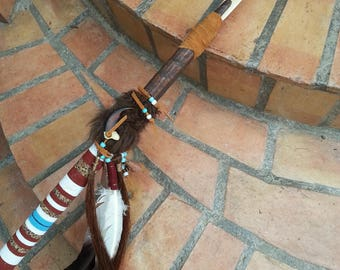 Native American Bone Tipped Spear/Native Spear/Beaded Art/Handmade